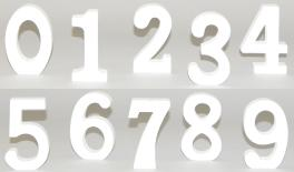 NUMBERS WHITE 11cm thick.18mm 0519552