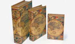 KSH-PU177SN MAP PU WOOD BOOK BOX 3PCS/SET 0621011