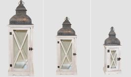 YZ120518 set of 3 wooden/metal lanterns 0621044