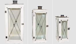 YZ121138 set of 3 wooden/metal lanterns 0621046