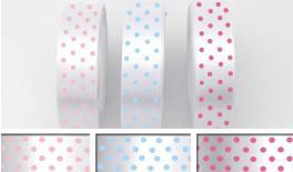 RIBBON SATEN WHITE WITH DOTS 2.5cm 25y 0501086