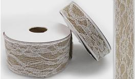 RIBBON CANVAS WITH LACE 5CM 10Y 0501197