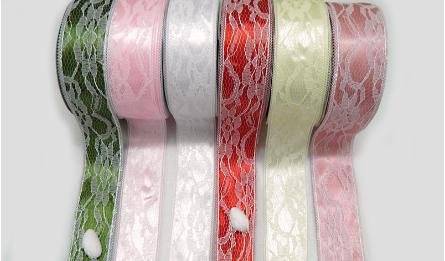 RIBBON SATEN WITH LACE TUBE 4CM 20Y 0501207