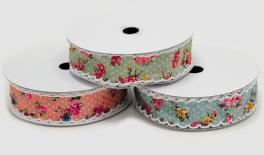 2.5cm little flower ribbon with cream cotton string border 20Y 0501268