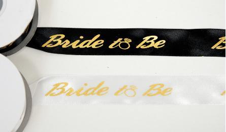 ΚΟΡΔΕΛΑ ΣΑΤΕΝ ΧΡΥΣΟΤΥΠΙΑ BRIDE TO BE 2.5cmx25Y 0501296