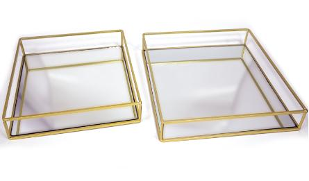 BB114-126008/009 metal tray-set of 2 28*28*5cm 25*25*5cm 0506188