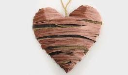 24CM PINK/RED LINT BARK HEART FABRIC FOR DECORATION 0511053