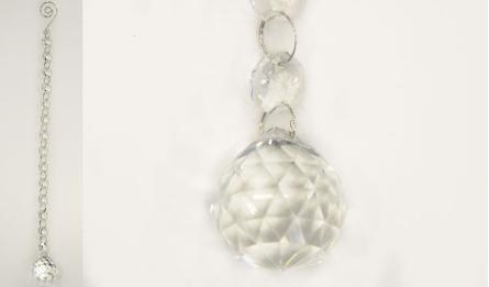 YH22 glass decoration pendant size:3cm Chain with 14pcs 1.4cm octagon beads 0514002