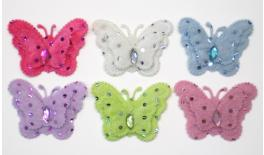 Fabric butterfly with strass 7x5.2cm 05171662