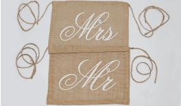 BURLAP MR MRs 31x22cm 0517829