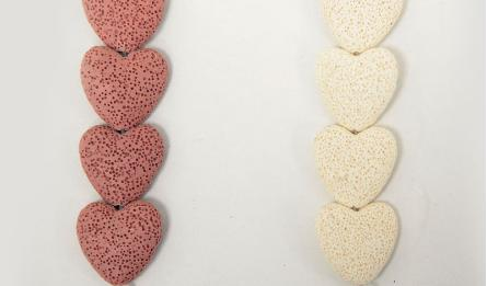 30mm heart lava beads 15pcs/line 0519582