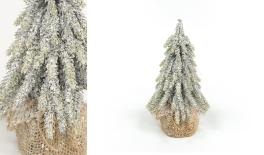ST15-T051D H20cm artificial tree, jute base, snow finish 0532010