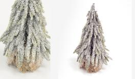 ST15-T052D H27cm artificial tree, jute base, snow finish 0532011