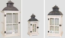 YZ121124 set of 3 wooden/metal lanterns 0621045