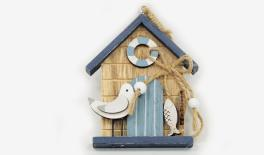 HAG-550504 21.5x8x9.5cm wooden house with bird/fish hange 0621195