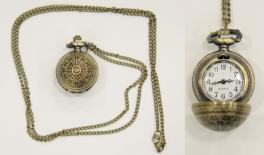 Spider web round pocket clock with metal chaiN 0621238